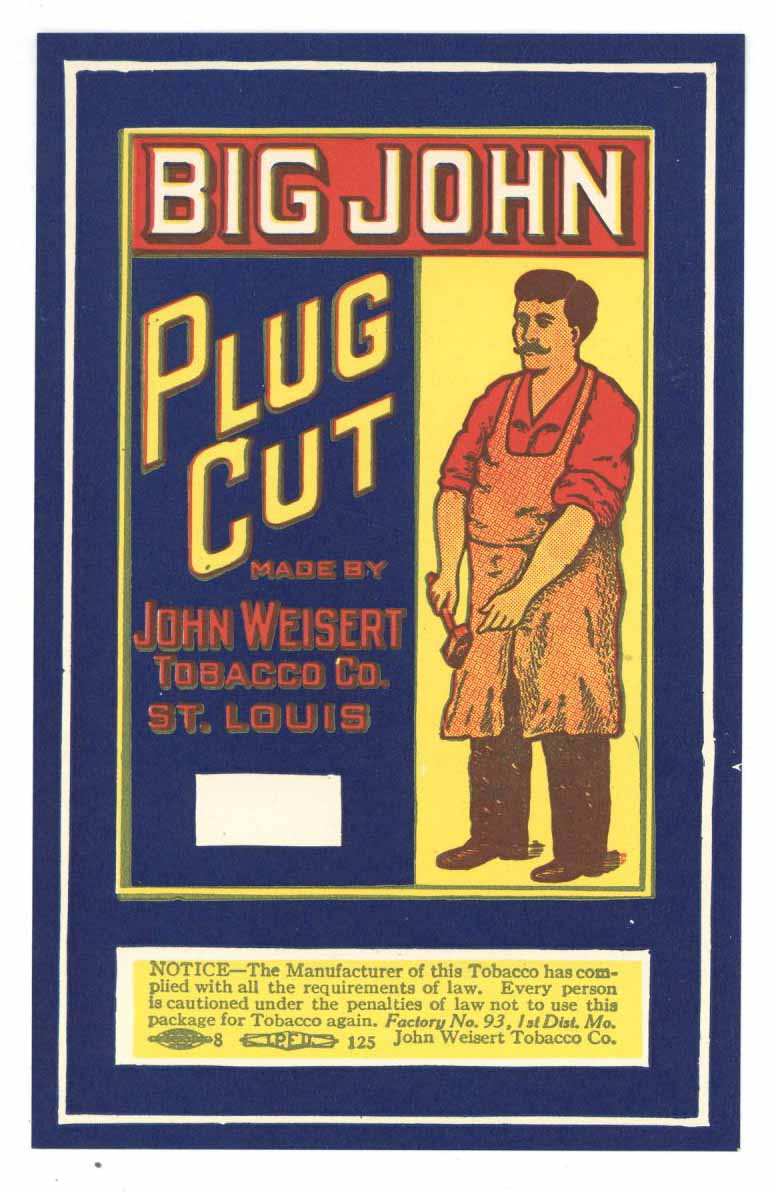 Big John Brand Vintage Plug Cut Tobacco Label