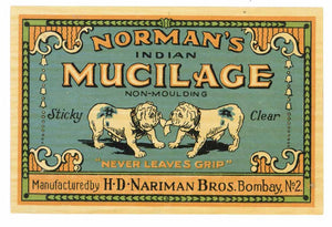 Norman's Indian Mucilage Brand Glue Bottle Label