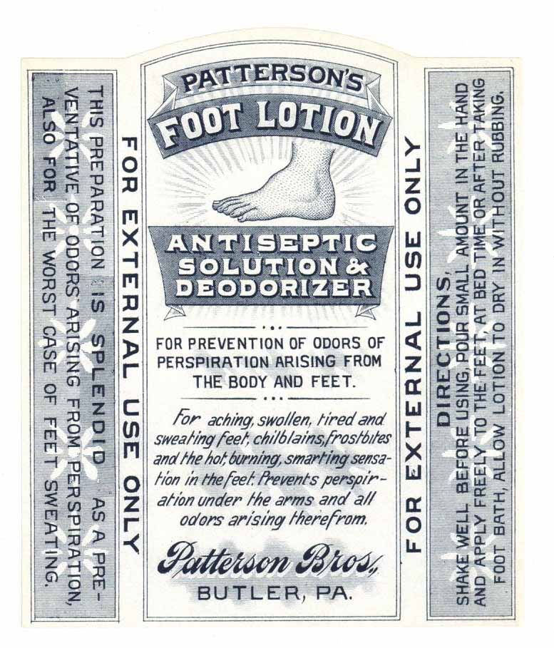Patterson's Foot Lotion Brand Vintage Antiseptic Bottle Label