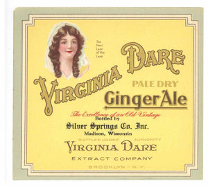 Virginia Dare Brand Vintage Ginger Ale Bottle Label