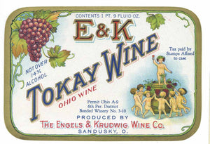 E & K Brand Vintage Sandusky, Ohio Tokay Wine Bottle Label
