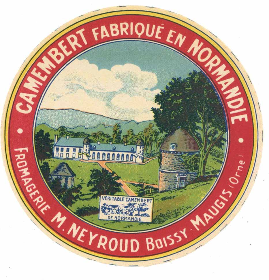 Fabrique en Normaindie Vintage French Camembert Cheese Label, building