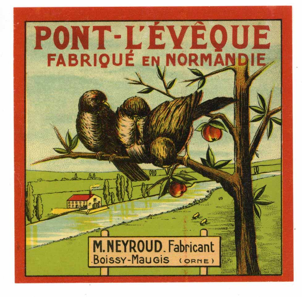 Pont-L'eveque Brand Vintage French Cheese Label, birds