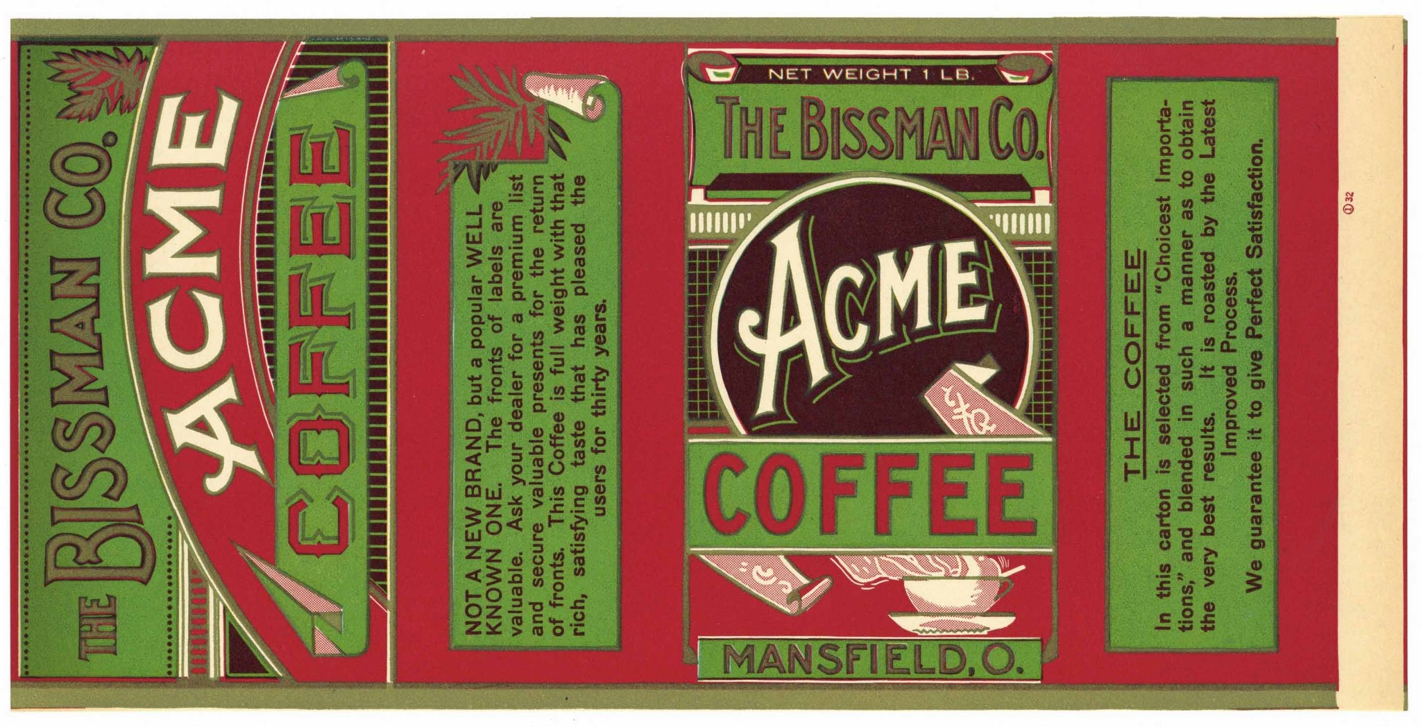 Acme Brand Vintage Mansfield Ohio Coffee Label, large