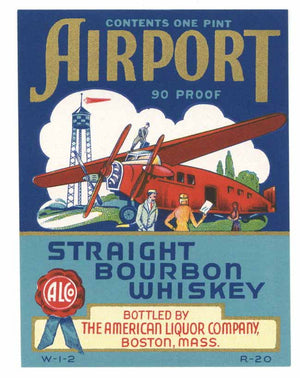 Airport Brand Vintage Bourbon Whiskey Bottle Label