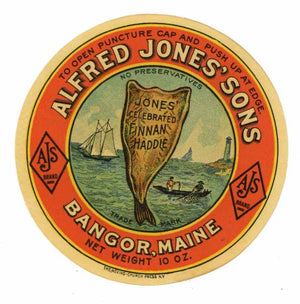 Alfred Jones' Sons Brand Vintage Finnan Haddie Bottle Label