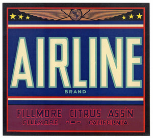 Airline Brand Vintage Fillmore California Orange Crate Label