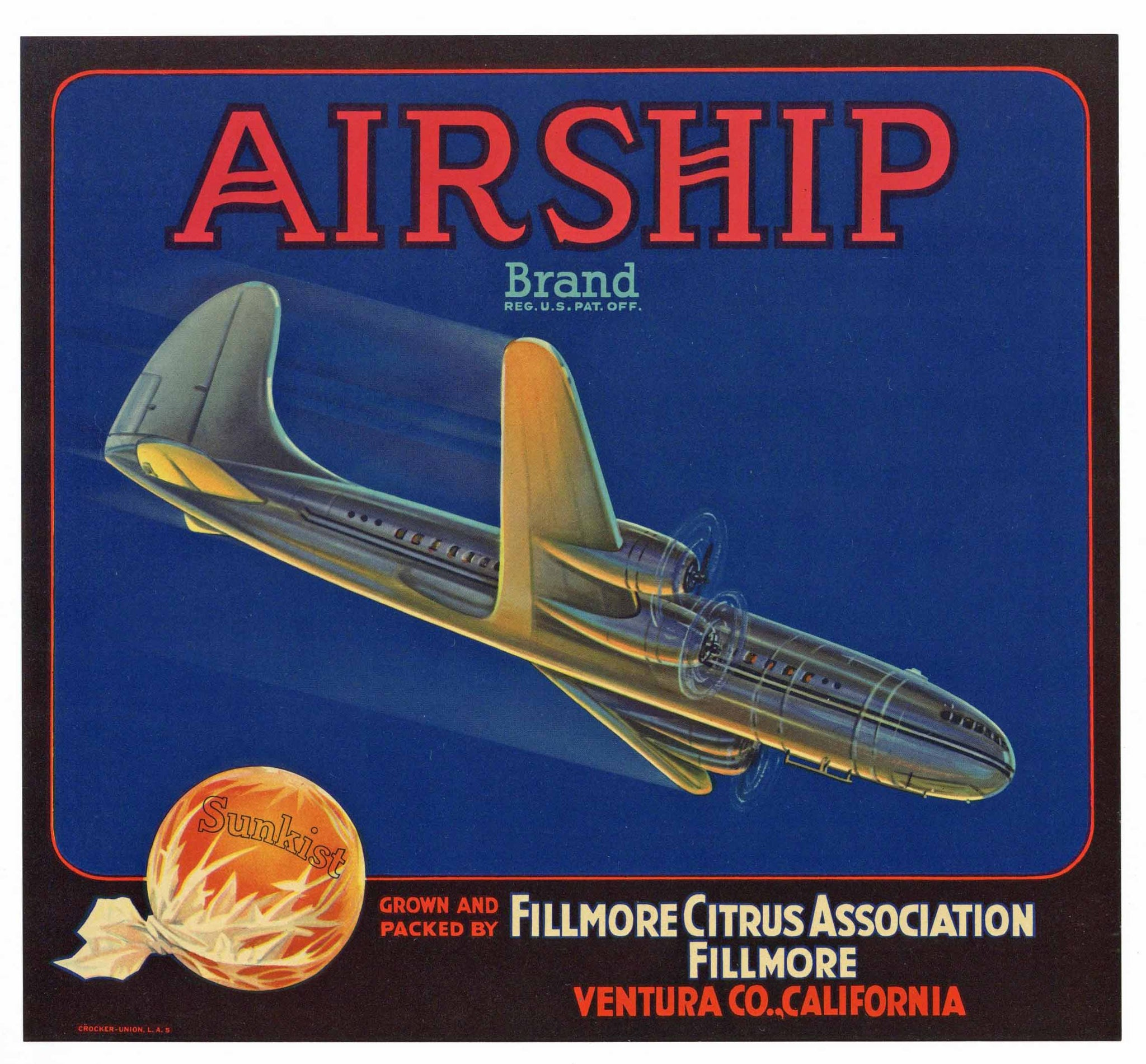 Airship Brand Vintage Fillmore, California Orange Crate Label
