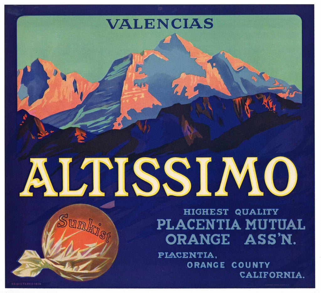 Altissimo Brand Vintage Placentia Orange Crate Label