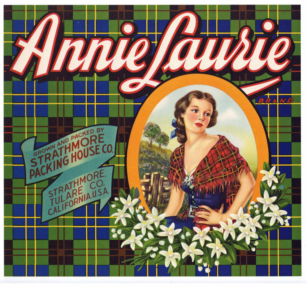 Annie Laurie Brand Vintage Orange Crate Label