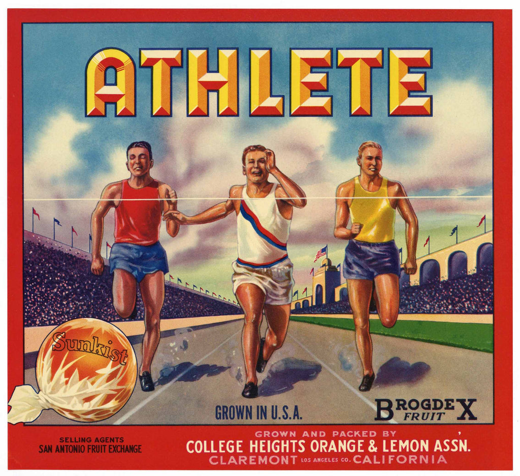 Athlete Brand Vintage Claremont Orange Crate Label