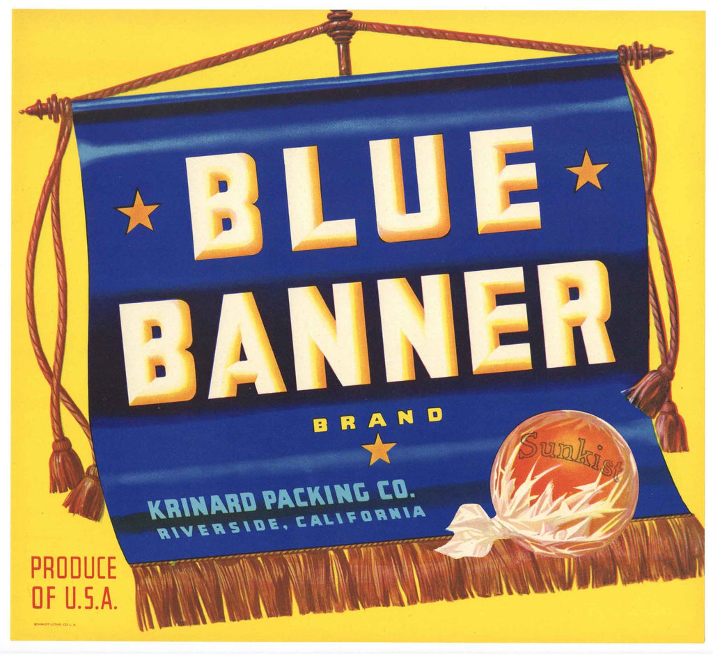 Blue Banner Brand Vintage Riverside Orange Crate Label