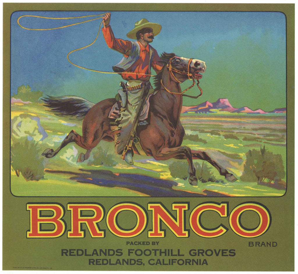 Bronco Brand Vintage Redlands Orange Crate Label
