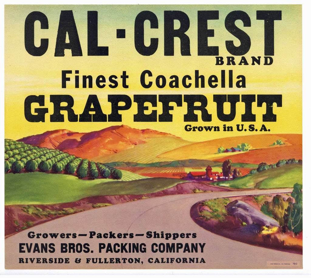 Cal-Crest Brand Vintage Riverside Grapefruit Crate Label