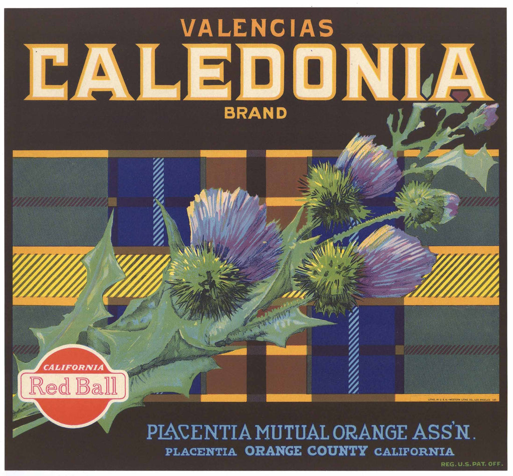 Caledonia Brand Vintage Placentia Orange Crate Label, red ball