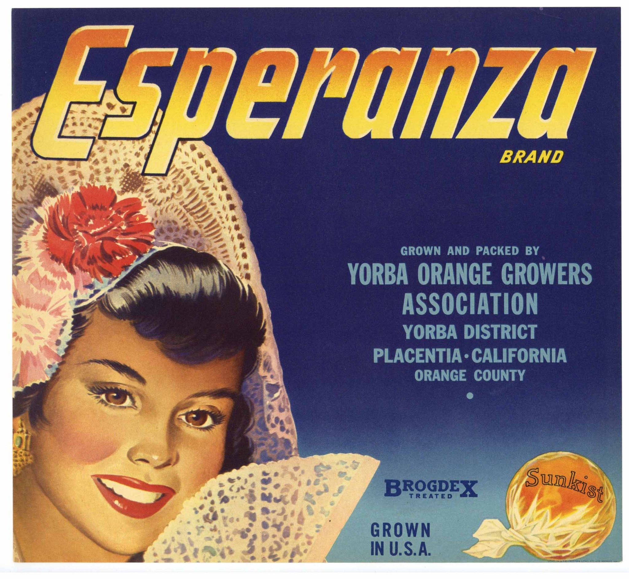 Esperanza Brand Vintage Placentia Orange Crate Label