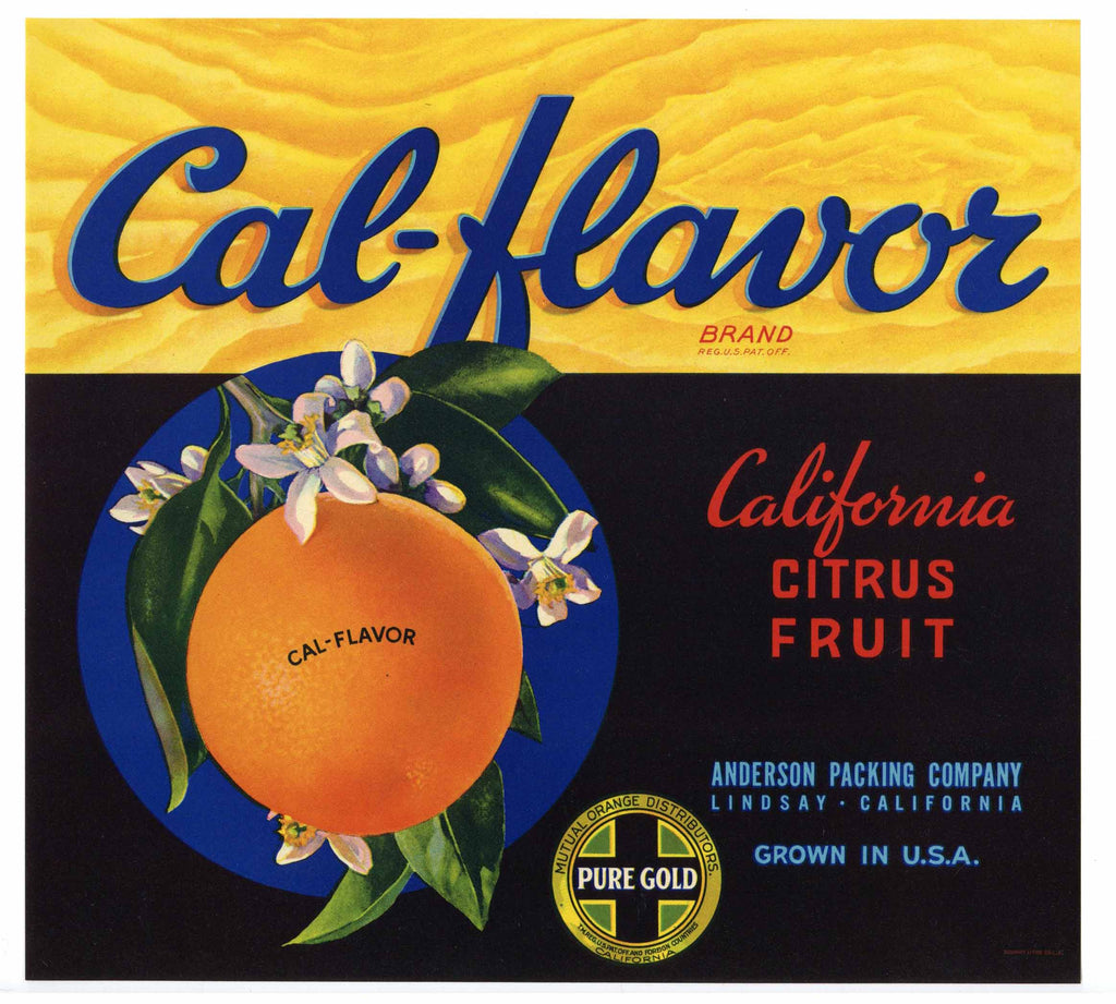 Cal-Flavor Brand Vintage Lindsay California Orange Crate Label