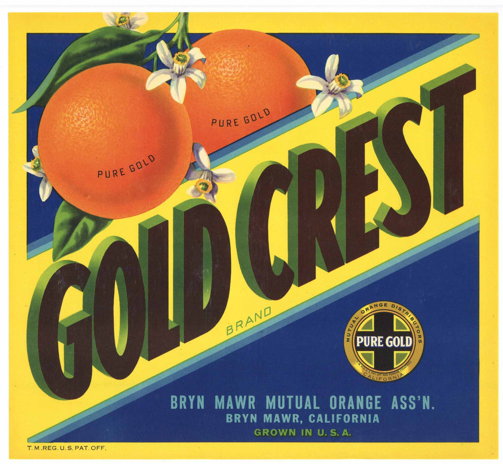Gold Crest Brand Vintage Bryn Mawr Orange Crate Label