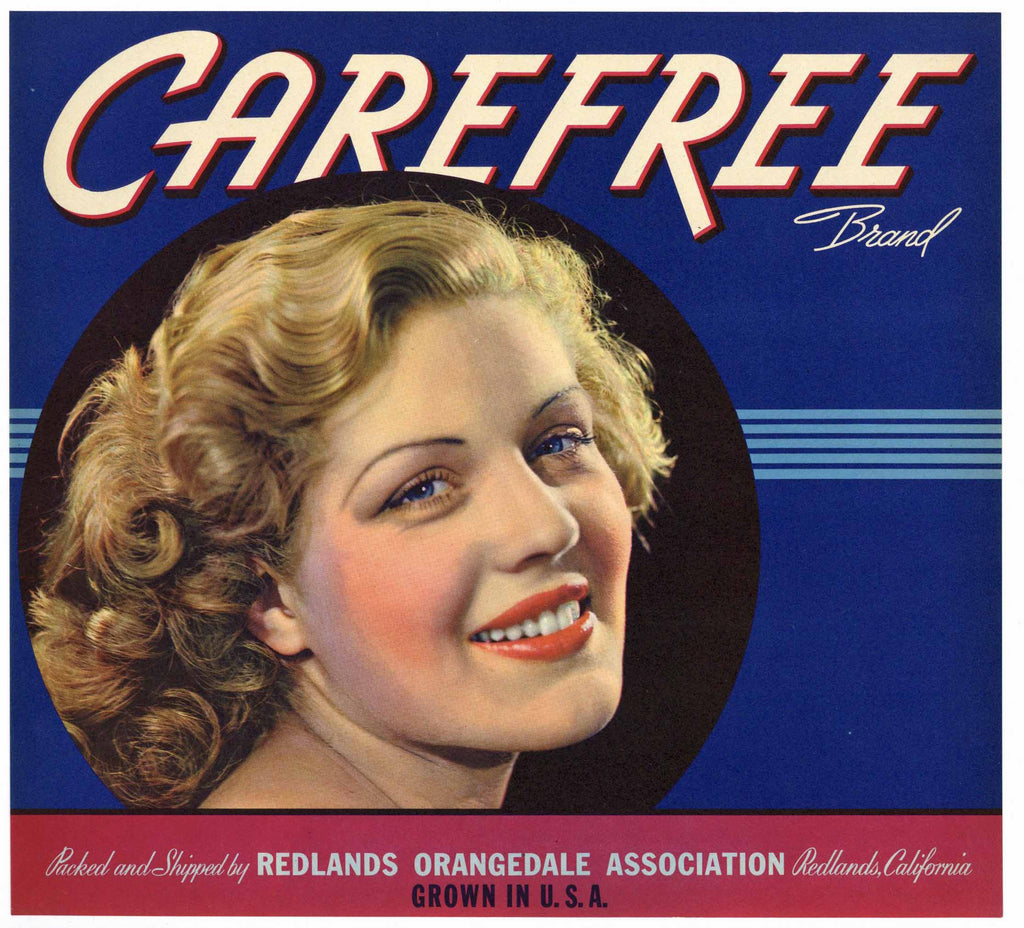 Carefree Brand Vintage Redlands Orange Crate Label