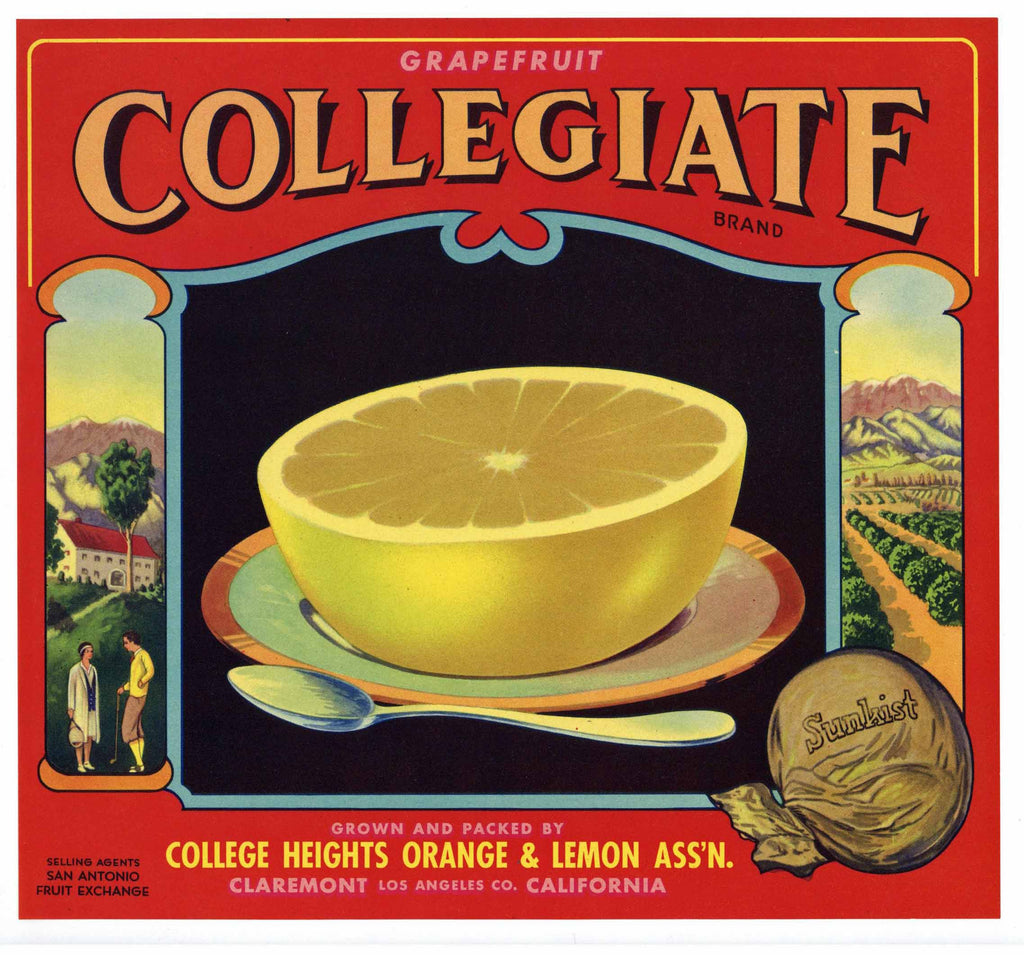 Collegiate Brand Vintage Claremont Grapefruit Crate Label