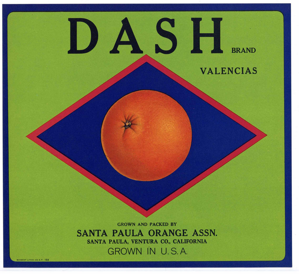 Dash Brand Vintage Santa Paula Orange Crate Label