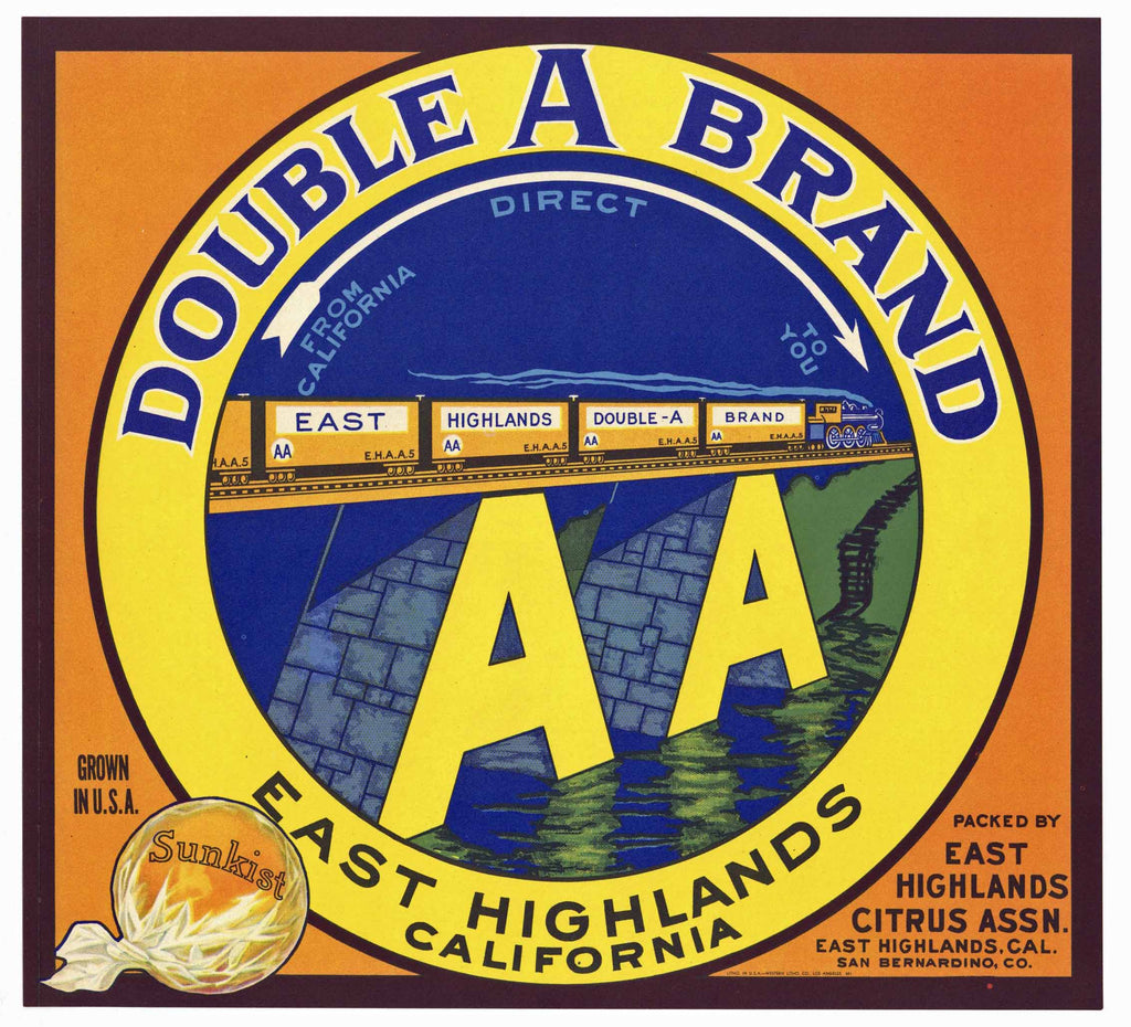 Double A Brand Vintage East Highlands Orange Crate Label