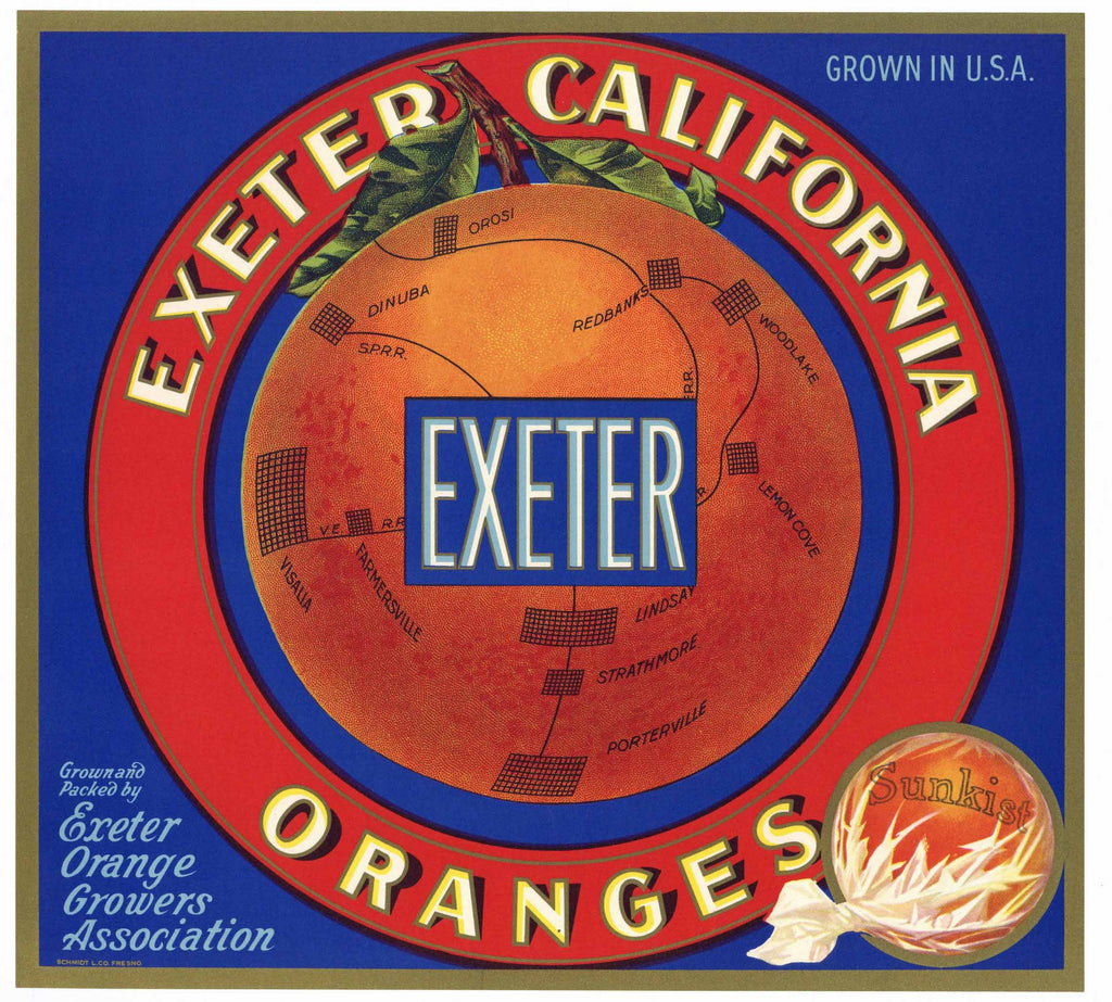 Exeter Brand Vintage Orange Crate Label