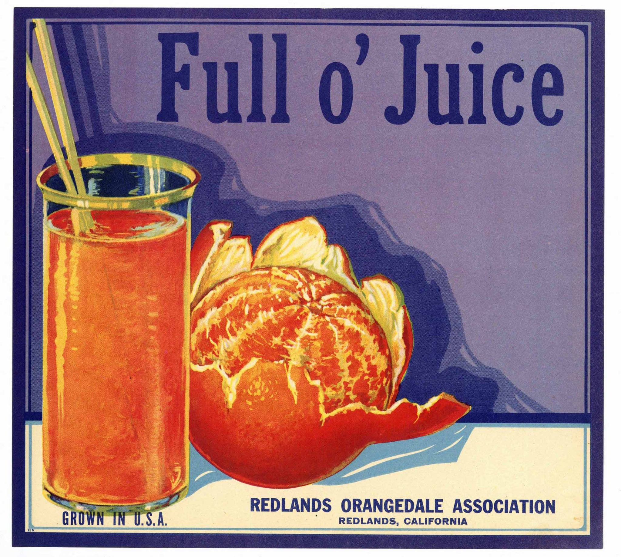 Full O' Juice Brand Vintage Redlands Orange Crate Label