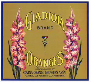 Gladiola Brand Vintage Corona Orange Crate Label