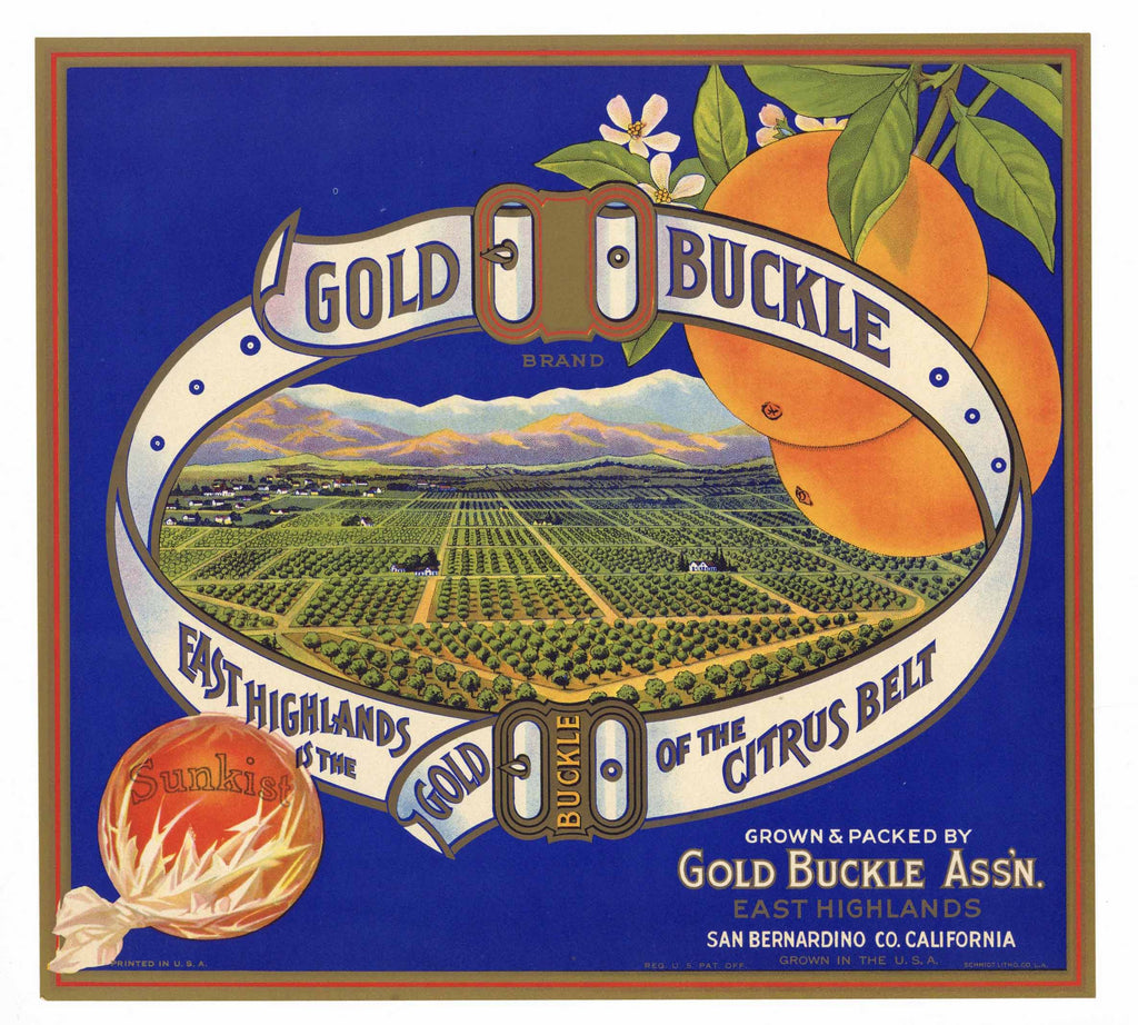 Gold Buckle Brand Vintage East Highlands Orange Crate Label