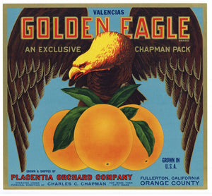Golden Eagle Brand Vintage Placentia Orange Crate Label