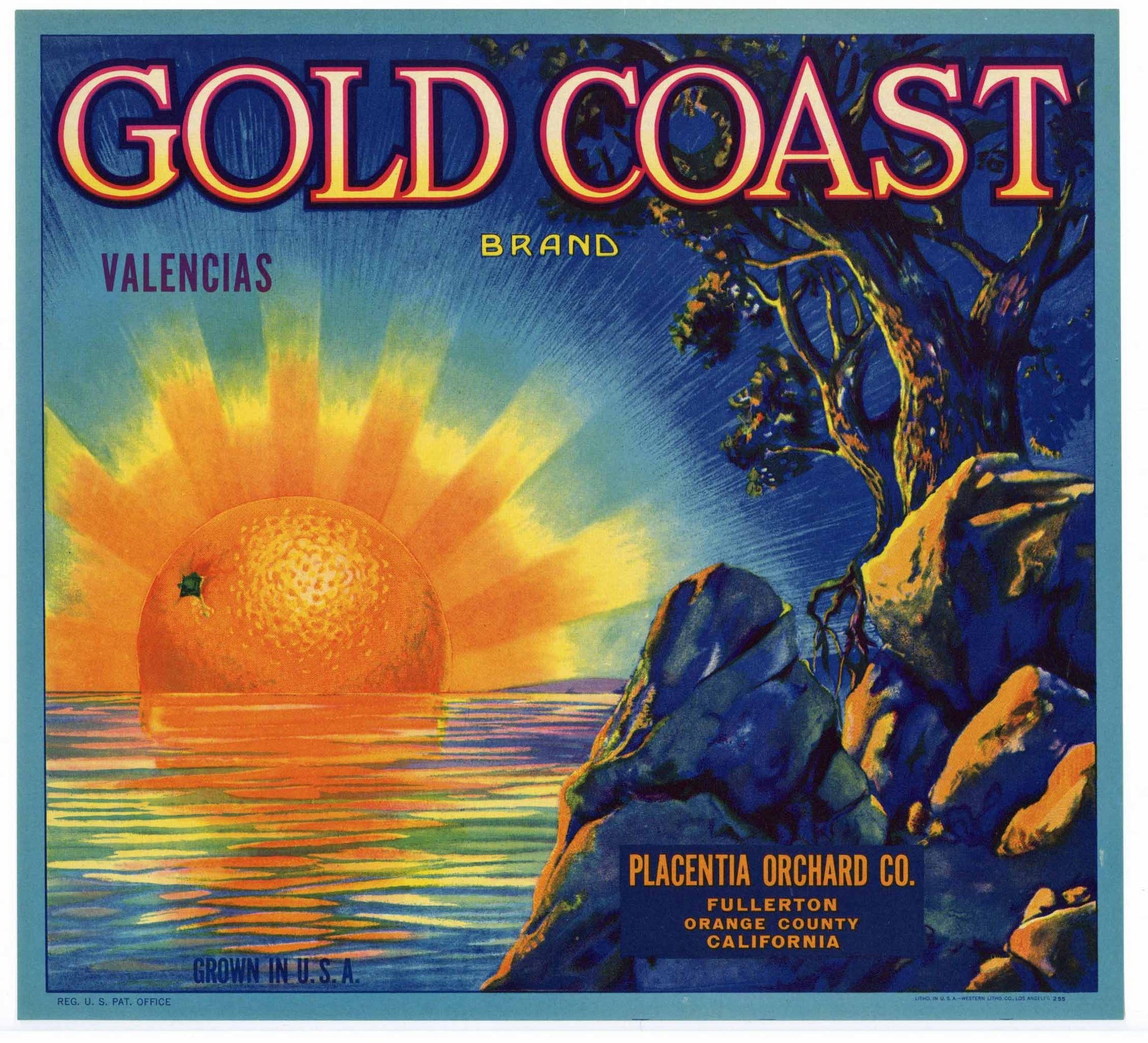 Gold Coast Brand Vintage Placentia Orange Crate Label