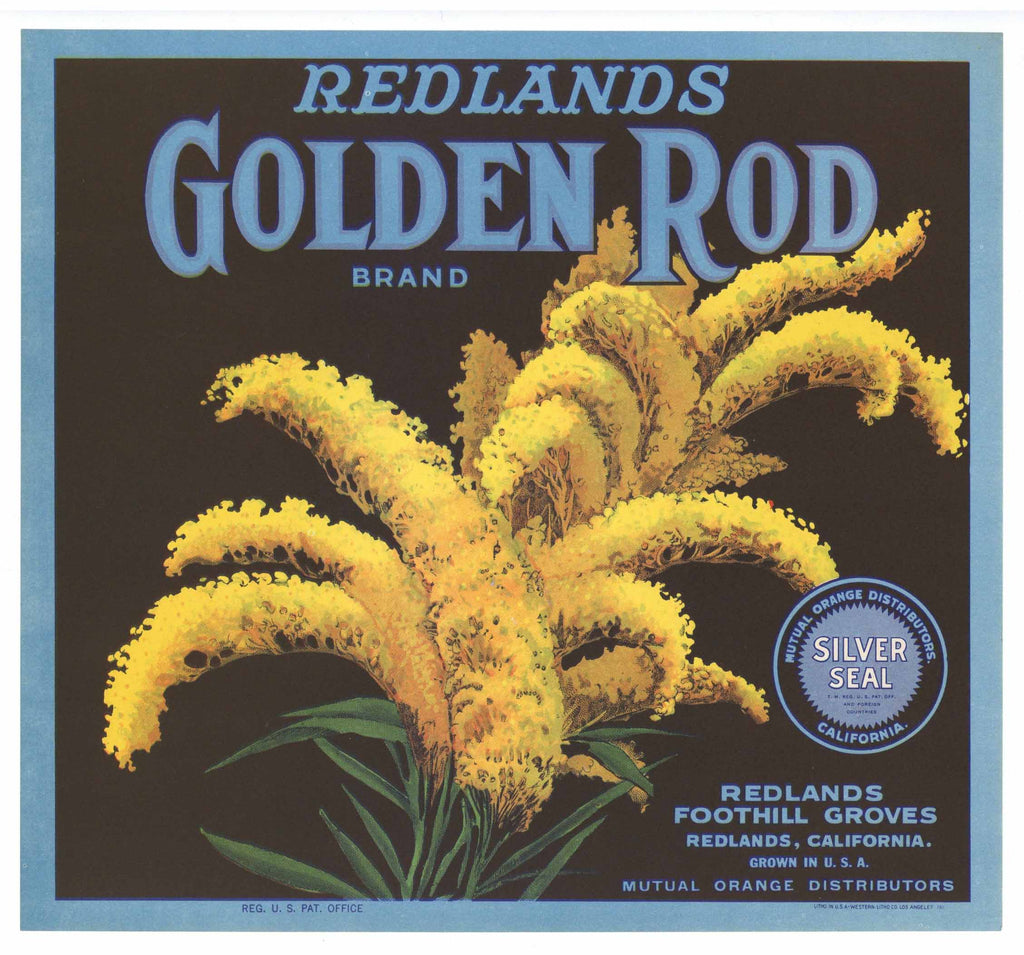 Golden Rod Brand Vintage Redlands Orange Crate Label