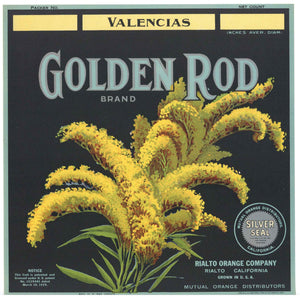 Golden Rod Brand Vintage Rialto Orange Crate Label, ht