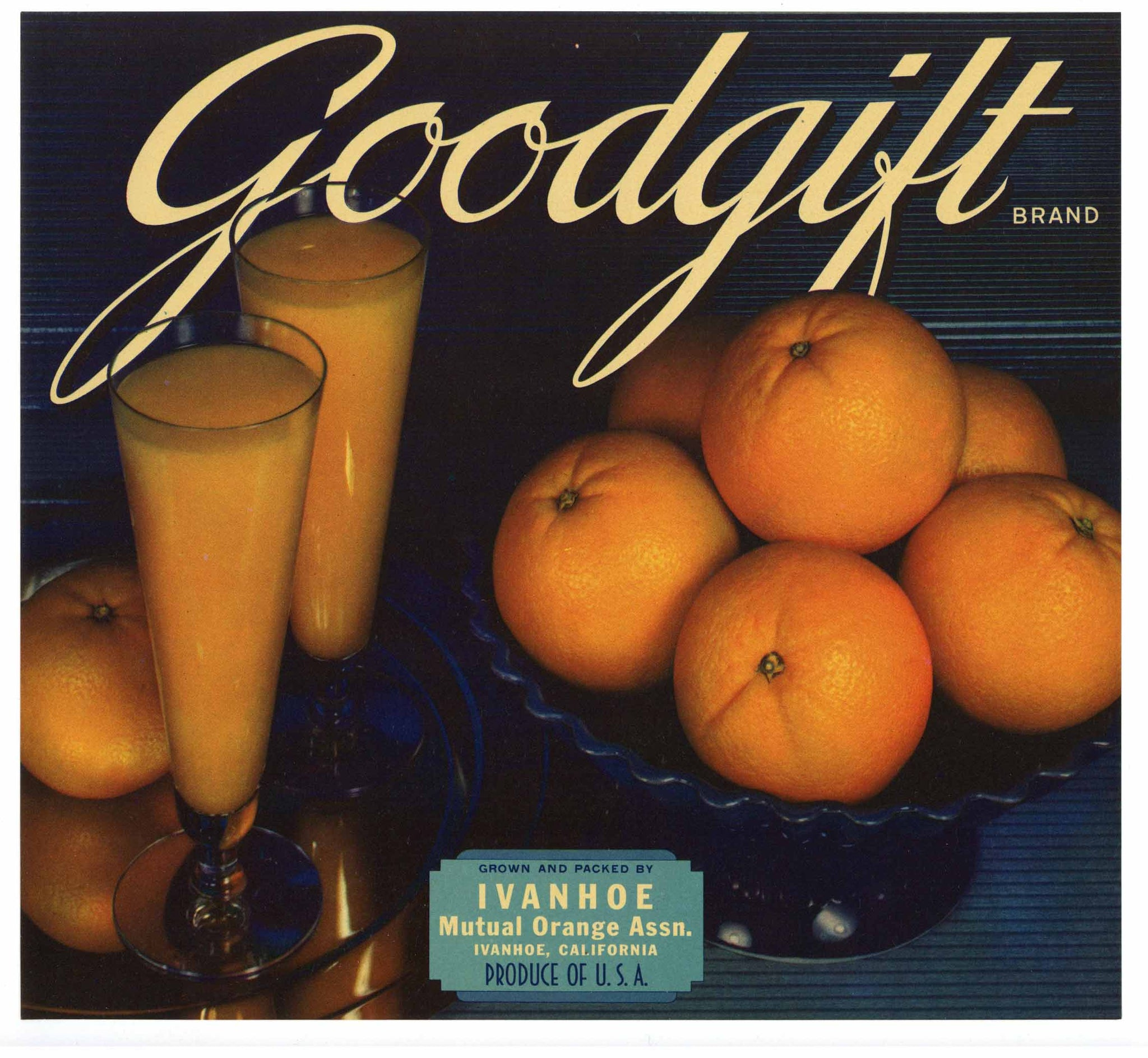 Goodgift Brand Vintage Ivanhoe Orange Crate Label