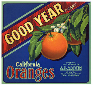 Good Year Brand Vintage Tulare County Orange Crate Label