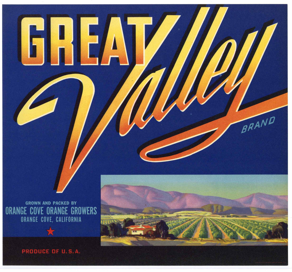 Great Valley Brand Vintage Orange Crate Label