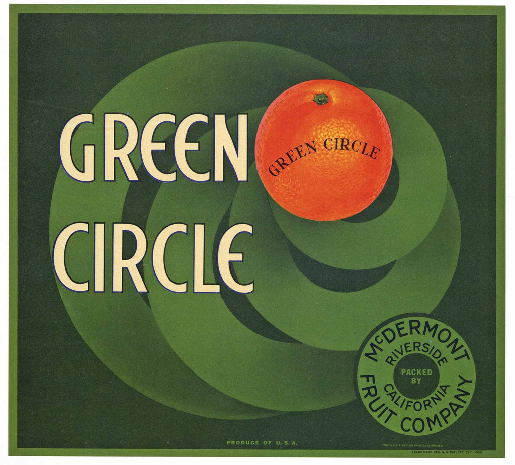 Green Circle Brand Vintage Riverside Orange Crate Label