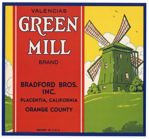 Green Mill Brand Vintage Placentia Orange Crate Label