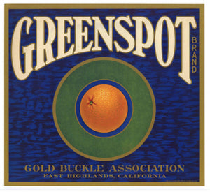 Greenspot Brand Vintage East Highlands Orange Crate Label