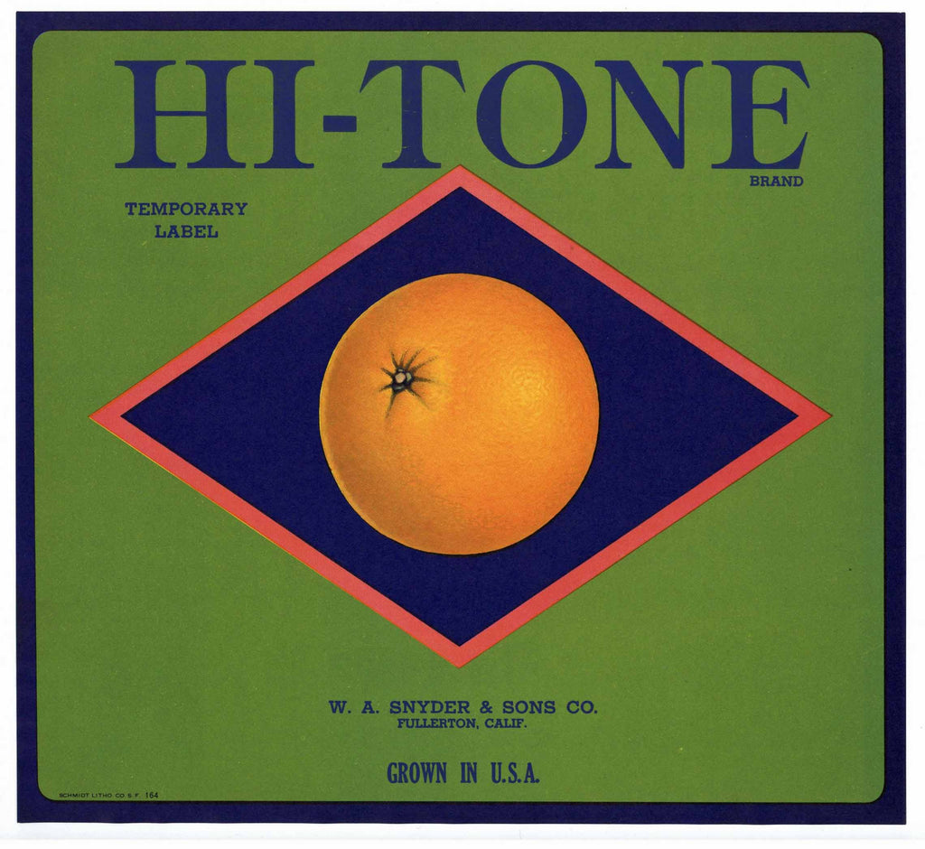 Hi-Tone Brand Vintage Fullerton Orange Crate Label, s