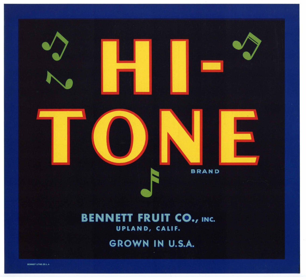 Hi-Tone Brand Vintage Upland Orange Crate Label, b
