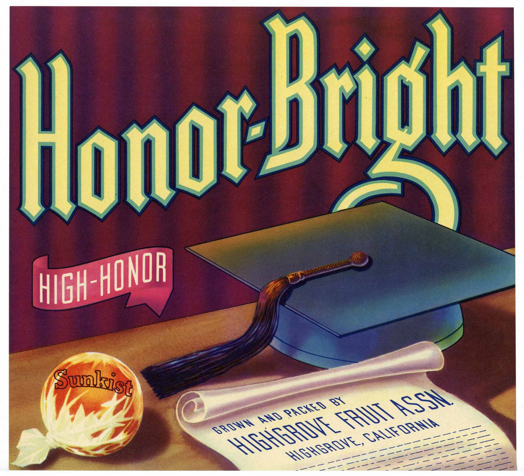 Honor-Bright Brand Vintage Highgrove Orange Crate Label