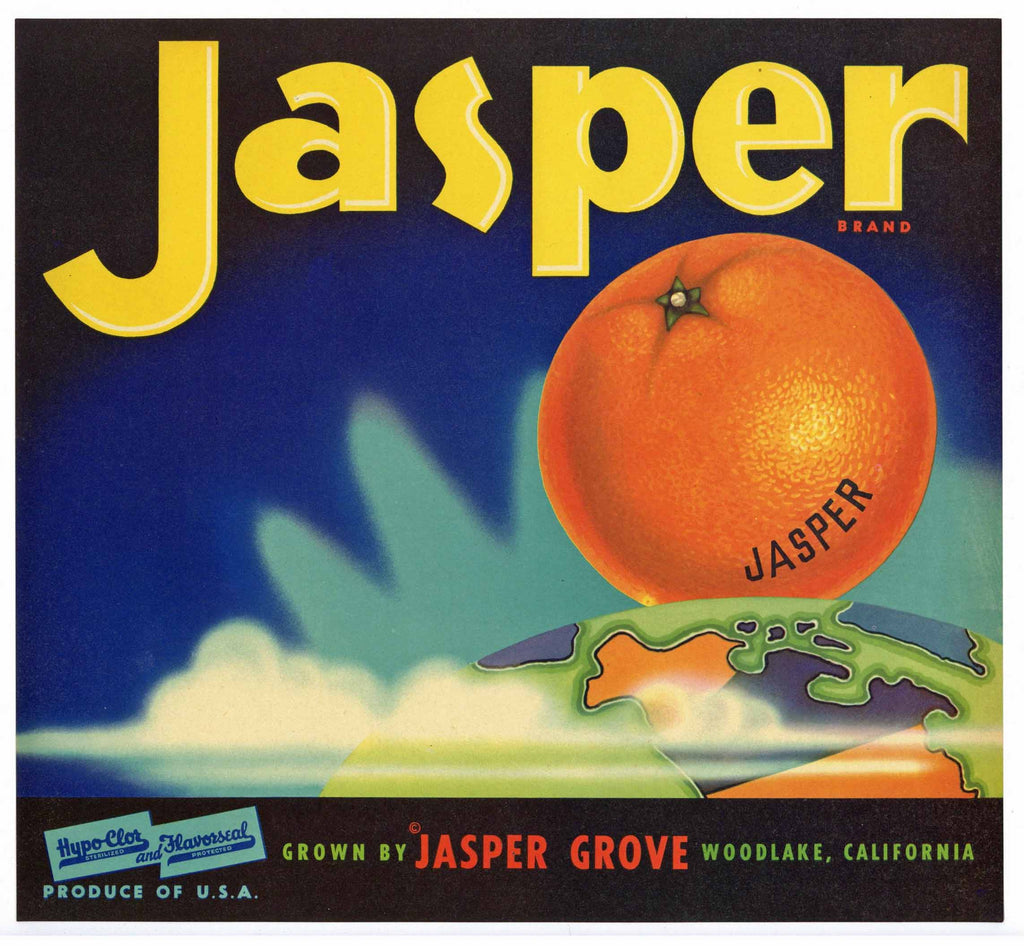 Jasper Brand Vintage Woodlake Orange Crate Label