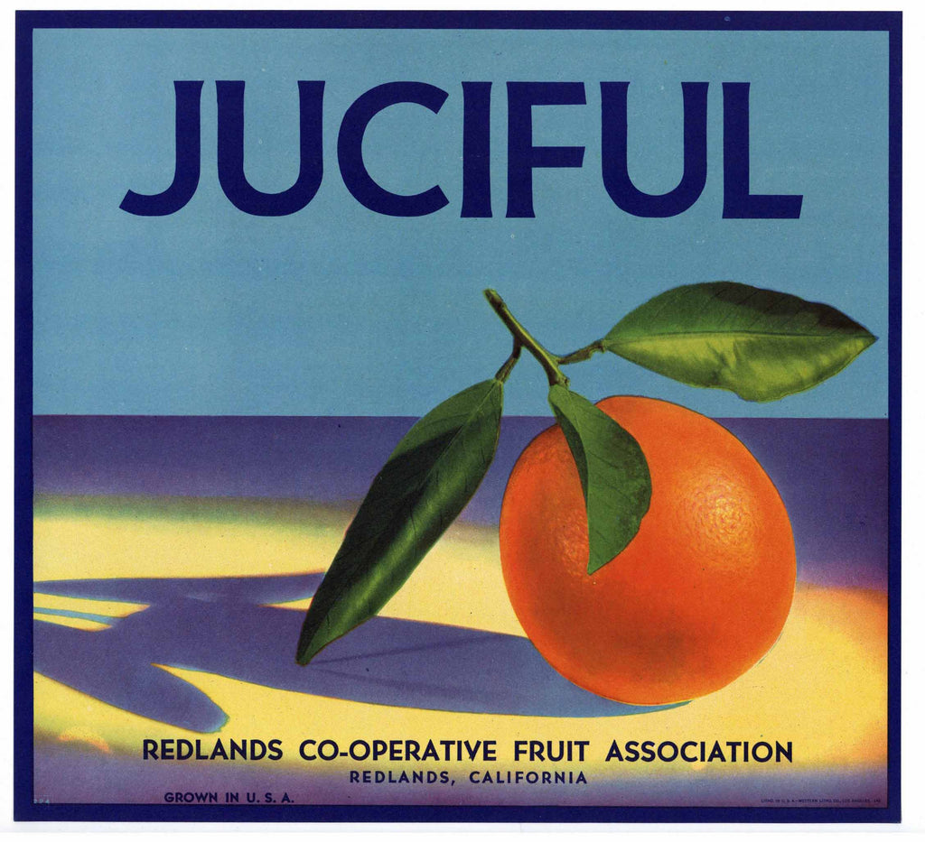 Juciful Brand Vintage Redlands Orange Crate Label