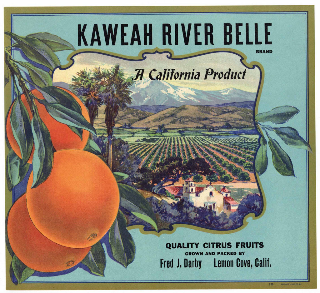 Kaweah River Belle Brand Vintage Tulare County Orange Crate Label