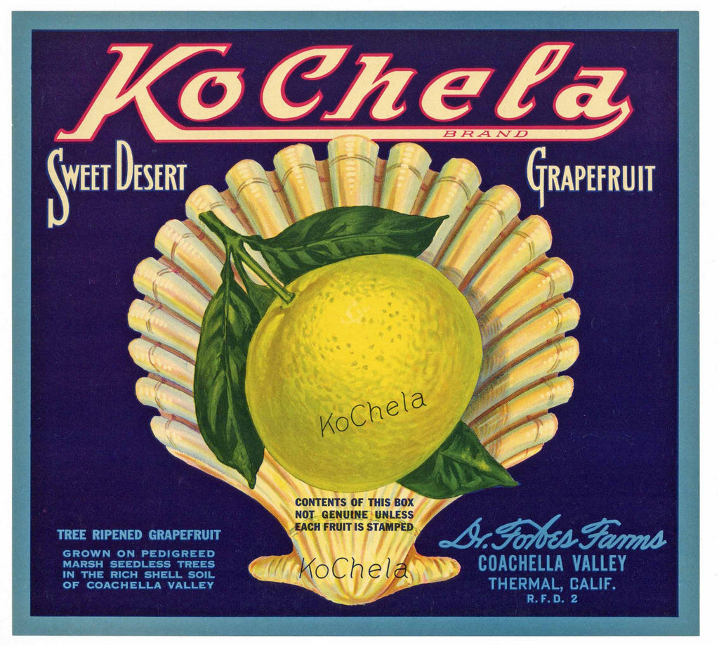 Kochela Brand Vintage Coachella Valley Grapefruit Crate Label