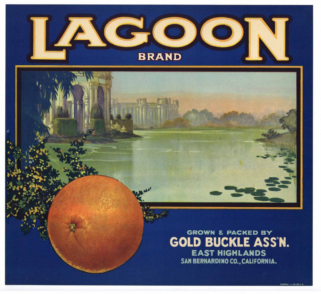 Lagoon Brand Vintage East Highlands Orange Crate Label