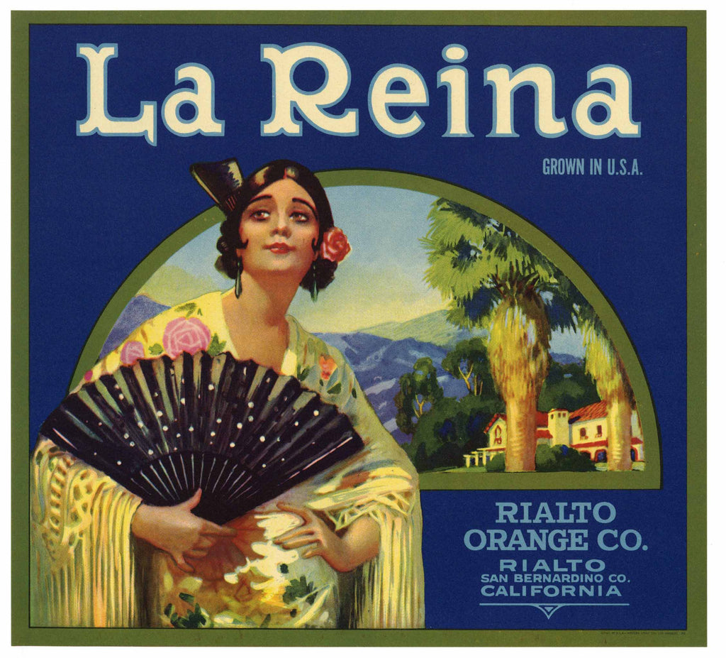 La Reina Brand Vintage Rialto Orange Crate Label