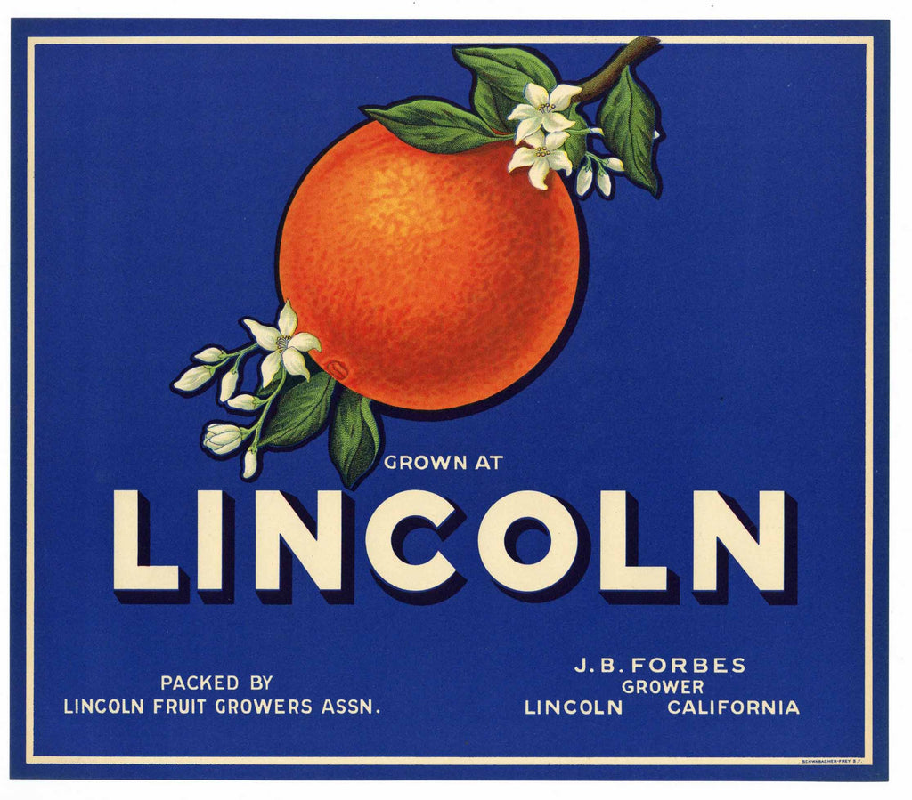 Lincoln Brand Vintage Placer County Orange Crate Label, blue